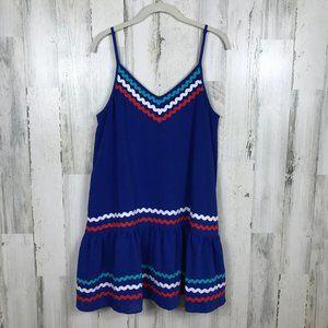 NWT Entro Blue July Dress sundress rick rack trim